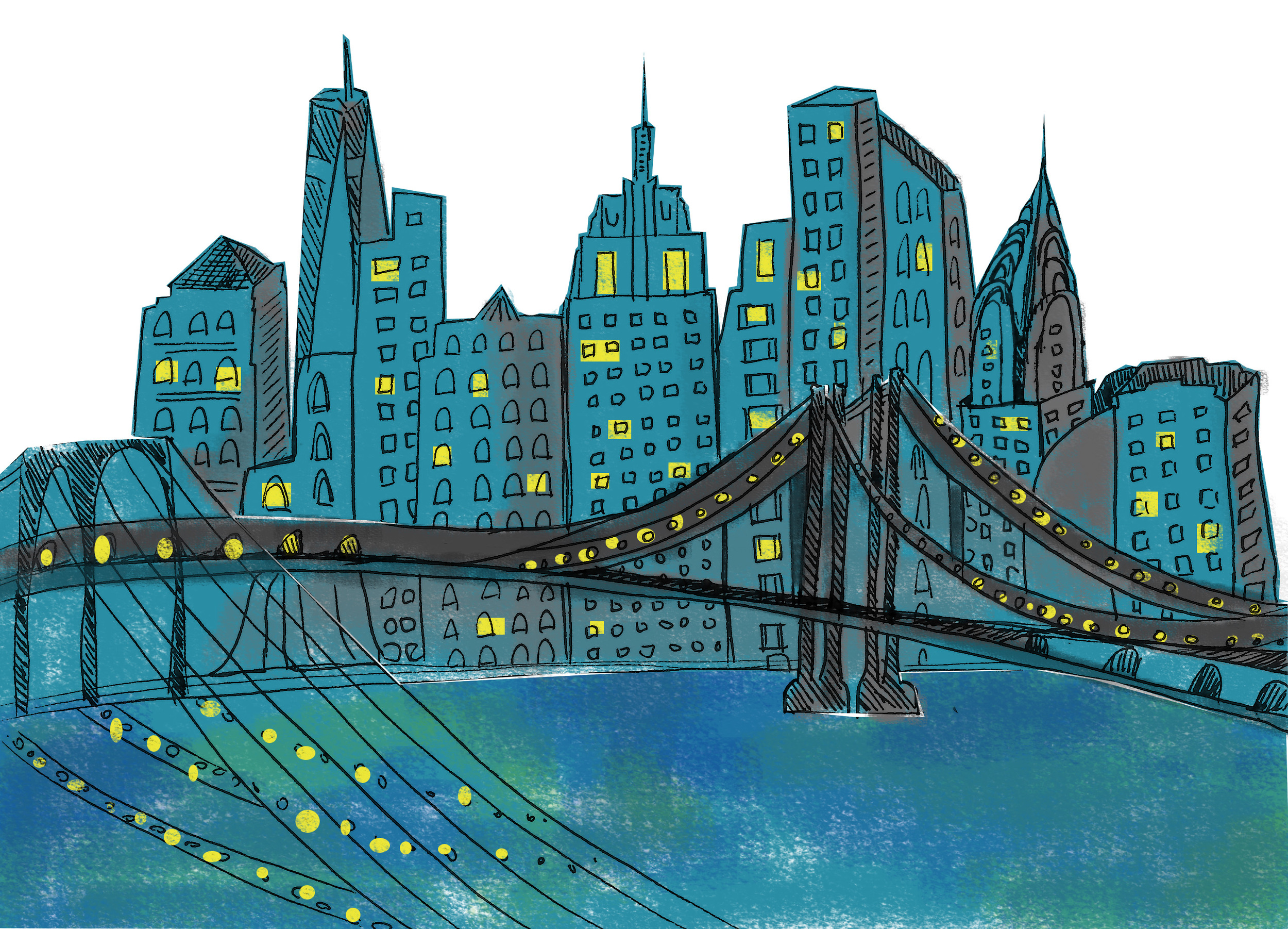 Series of illustrations of cityscapes-  TogoRun Holiday E-card