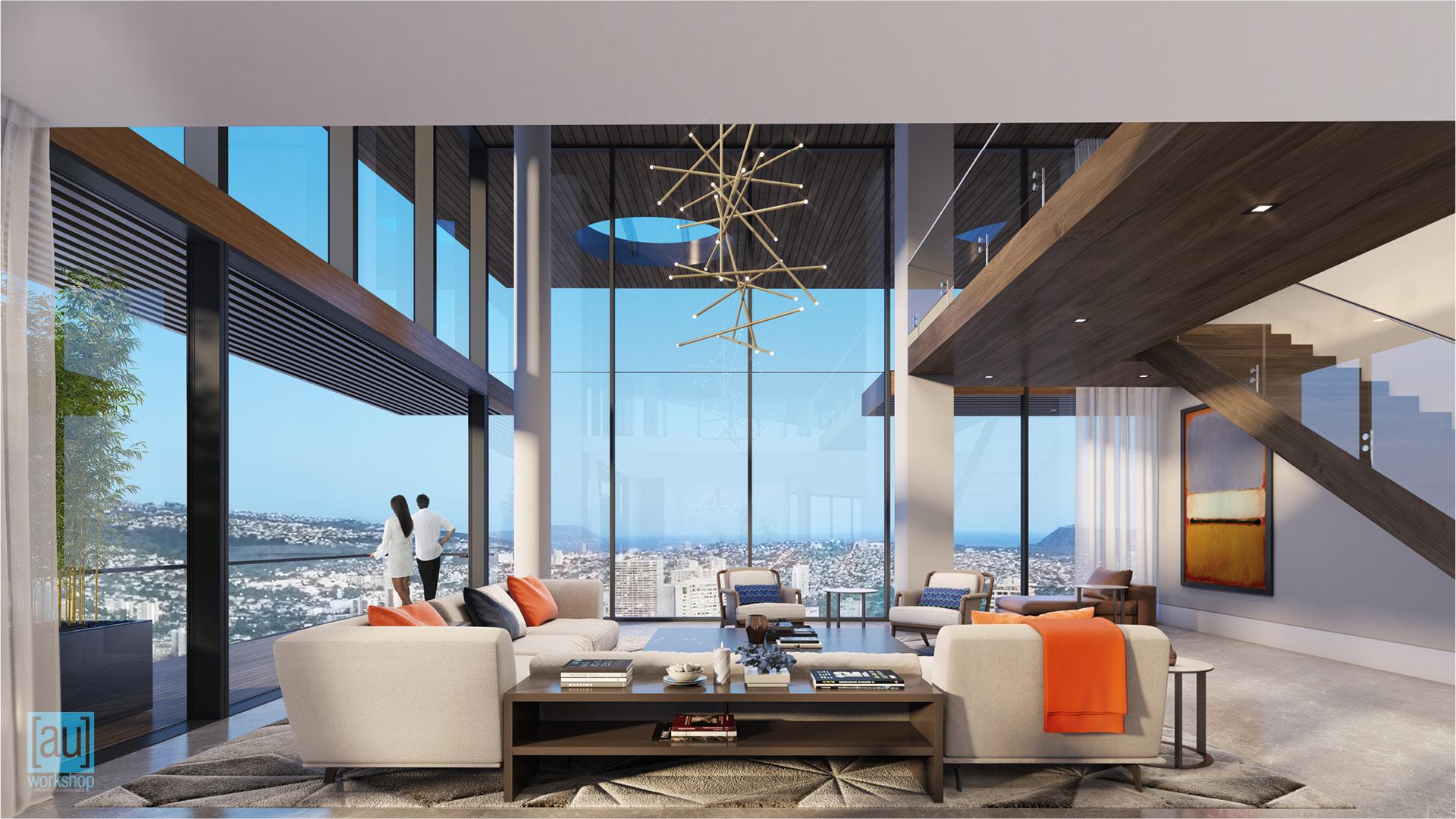 View from Mauka Penthouse Kitchen
