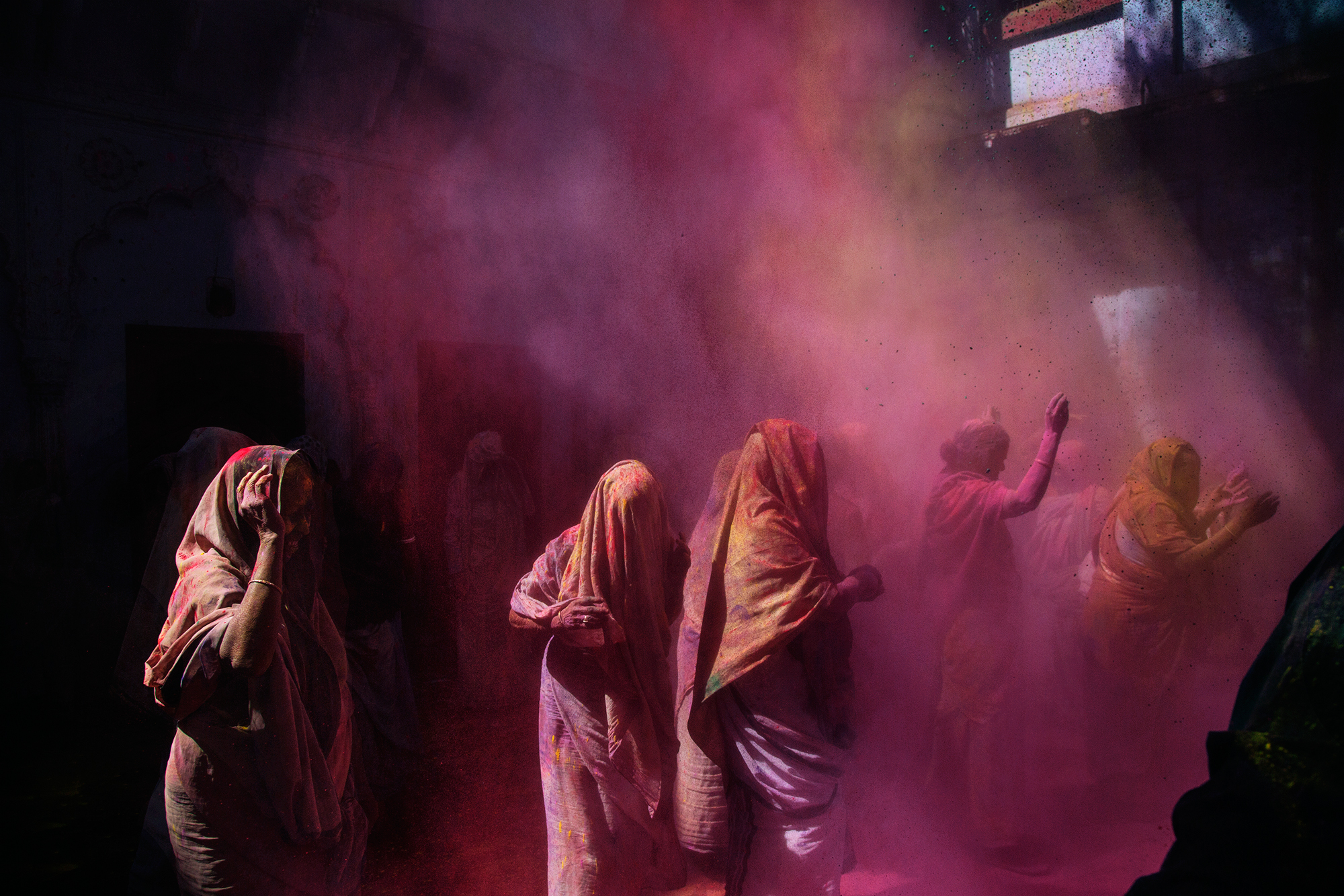 Widows from the Meera Sahabhhagini Ashram celebrate the Holi Festival in Vrindavan, Uttar Pradesh, India. Over the past years they have been encouraged to engage in celebrations by social organisations that are attempting to raise their status in contemporary Indian society