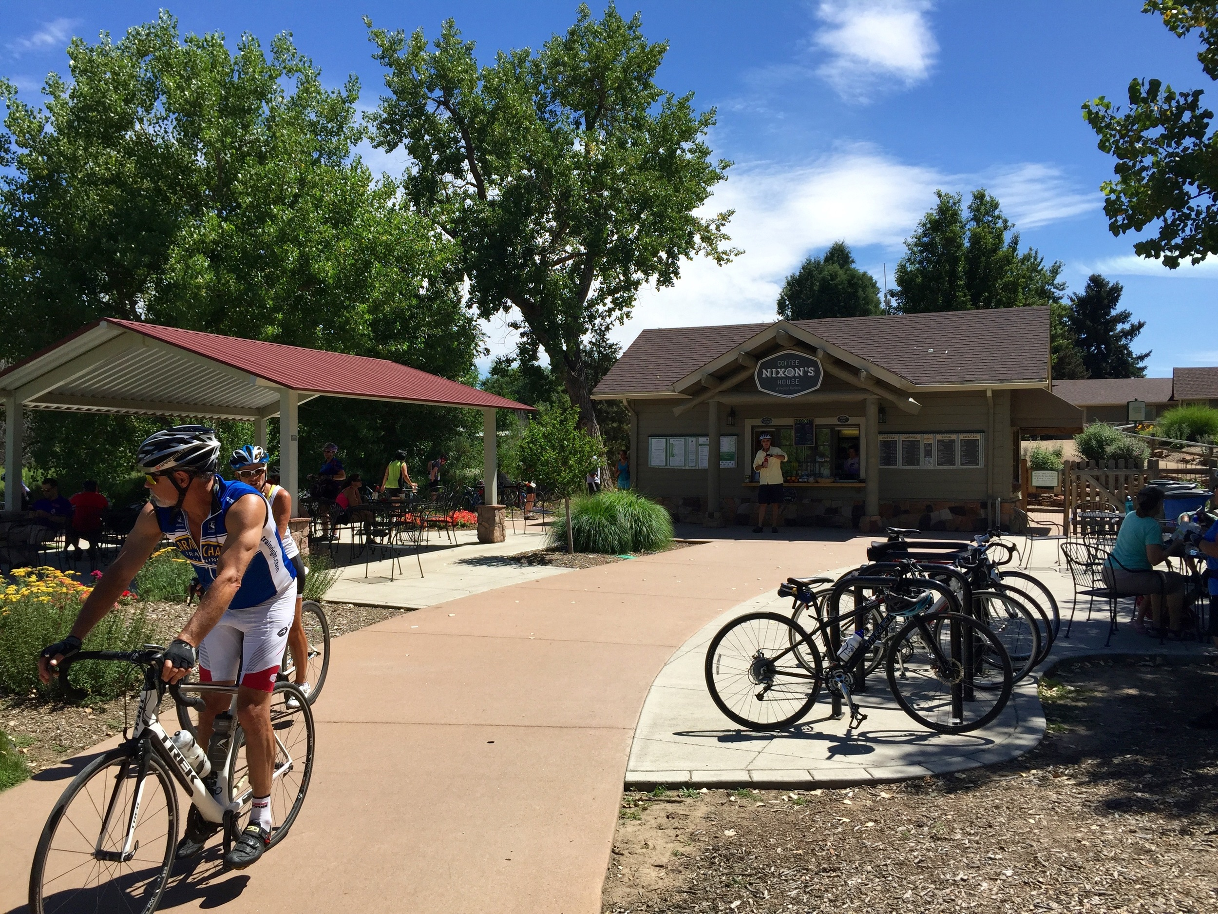 Nixon's Coffe House is a trailside hub for the folks visiting Mary Carter Greenway and Hudson Gardens