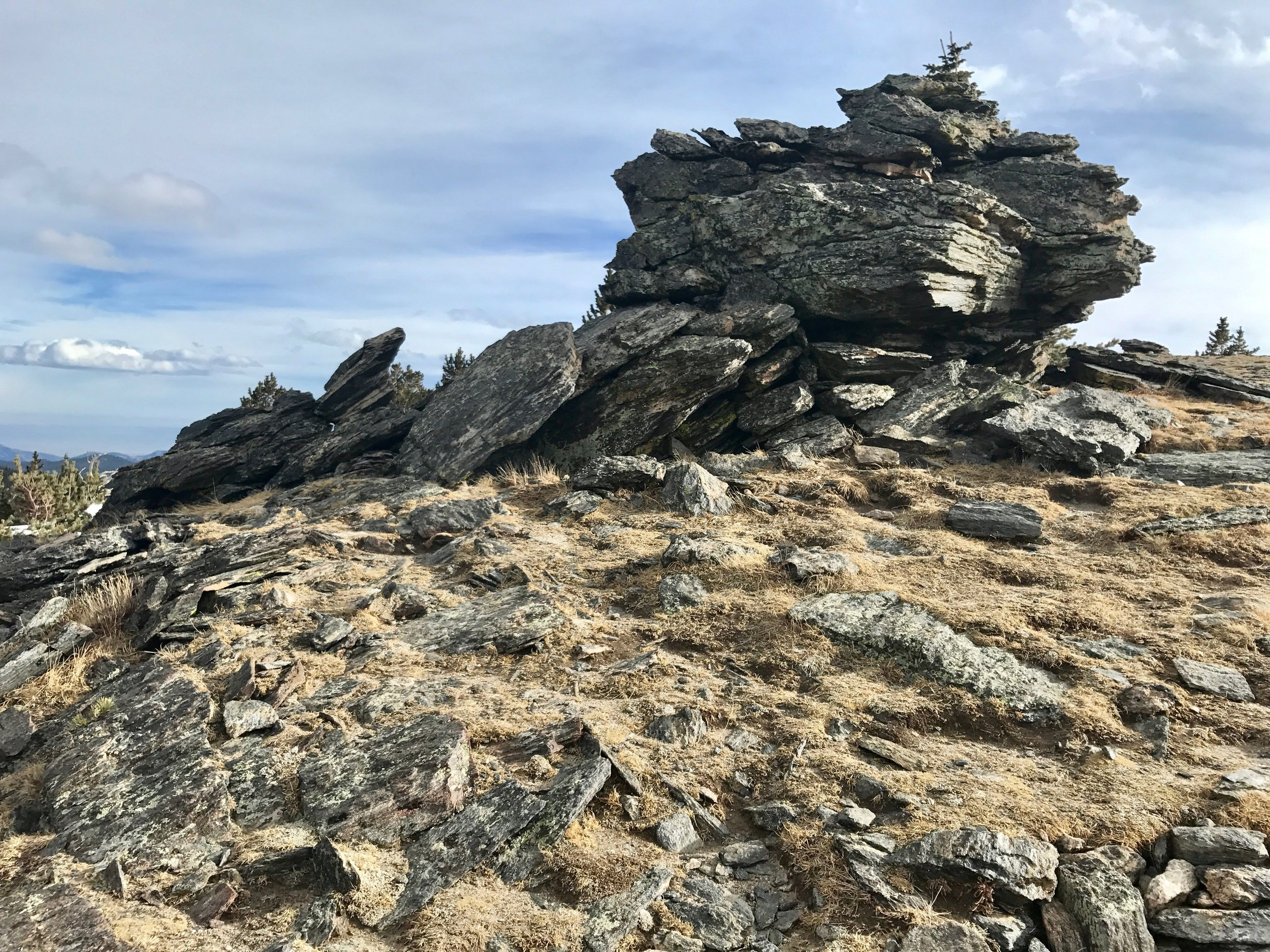 One of the unique rock outcrops approaching the summit.