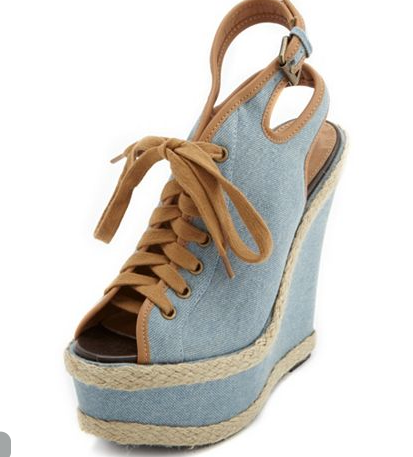 Lace-up Chambray Jute Wedge , $42.50