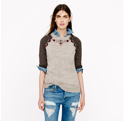I am currently in dire need of this  J.Crew sweater tee dripping in jewels. Leave it to the masters of high-low chic to make something so simple so freakin' cute! Yes please!