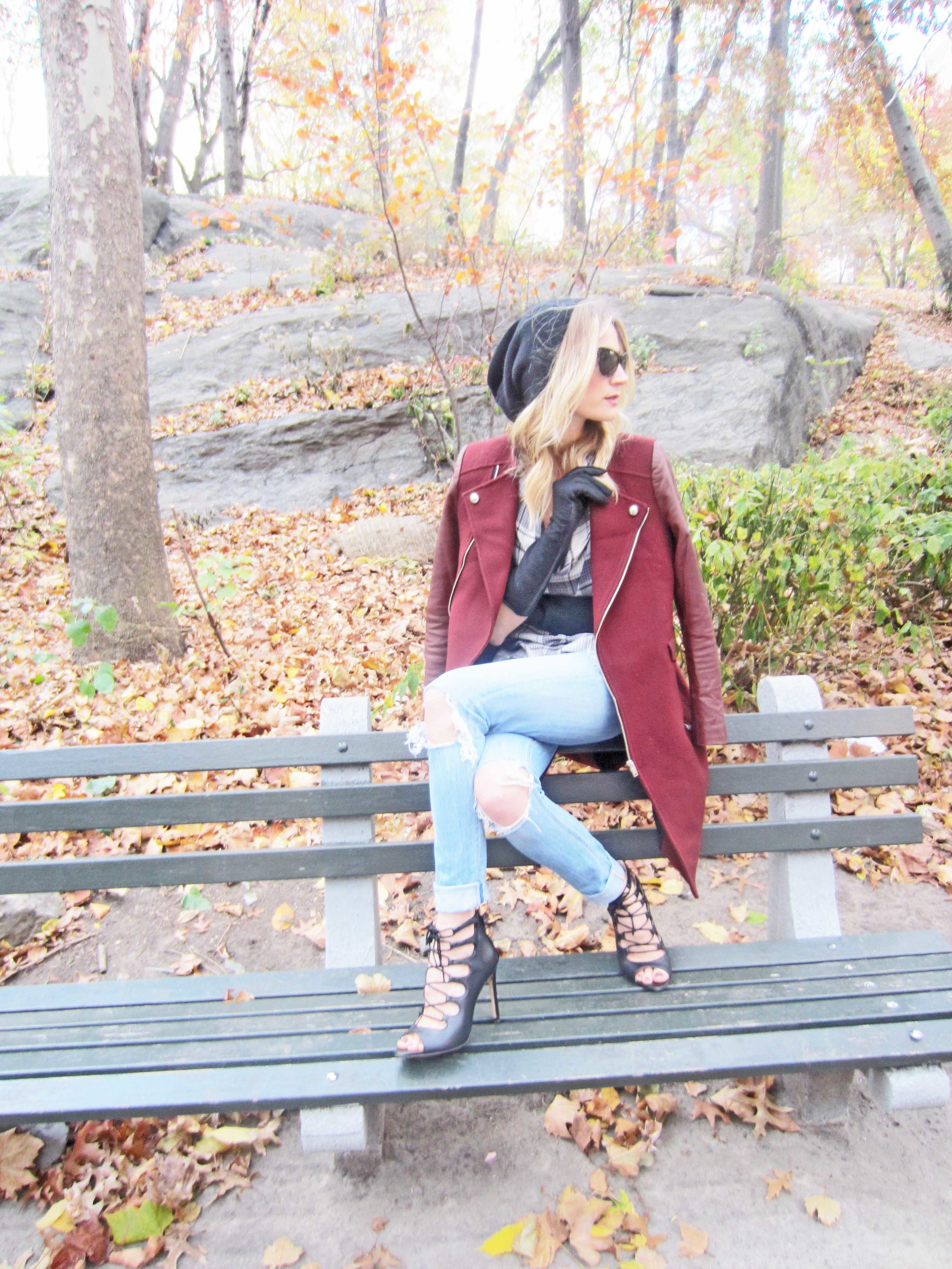 Coat, Zara (old); Top, Urban Outfitters (old); Jeans,  J. Crew  (See how to make them yourself in  Buys and Bargains ); Shoes, Zara (old); Sunglasses.  Raen : Gloves, Zara (old)