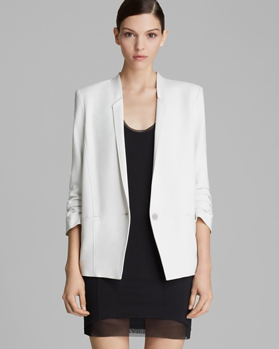 Helmut by Helmut Lang Jacket - Primed Scrunch Sleeve Suiting available  here