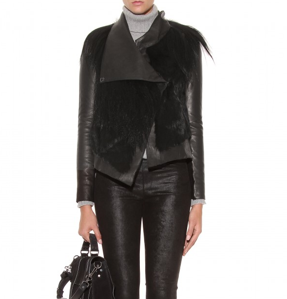 Helmut Lang Black Fur Accented Leather Jacket, available  here