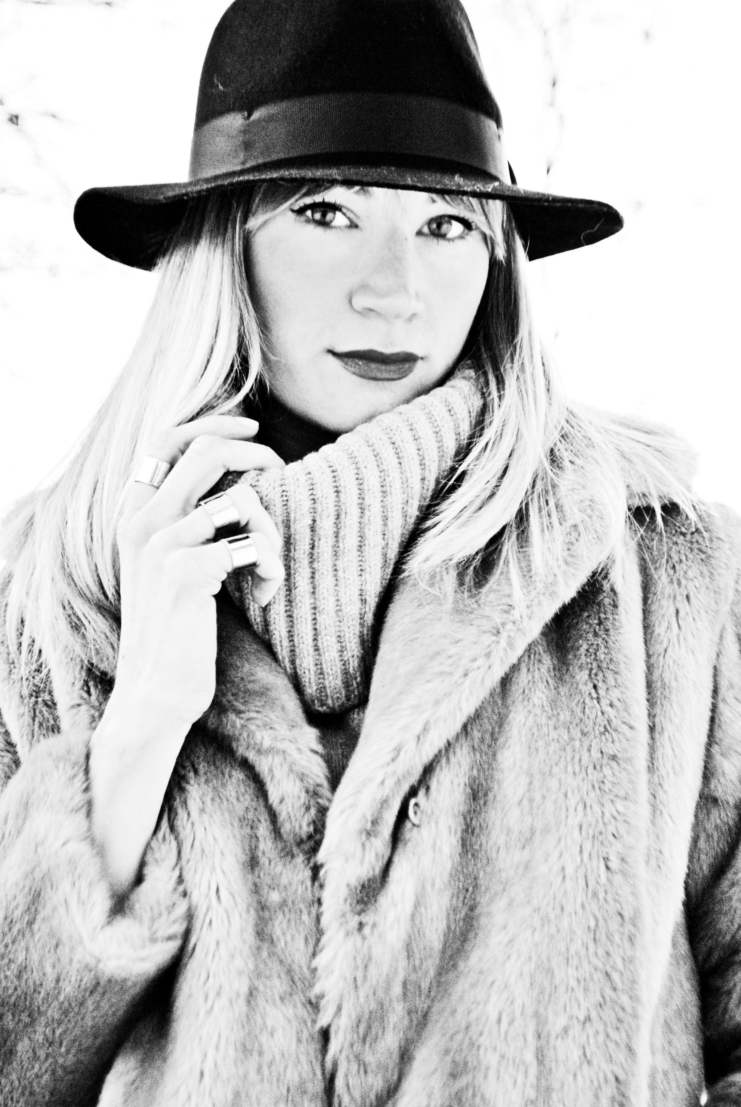 Faux Fur Coat, Vintage; Sweater, Gap (old); Leggings,  Club Monaco ; Boots, Zara ( similar here ); Rings, Maison Martin Margiela ; Hat,  TopMan ** Photos by Shannon Bailey**