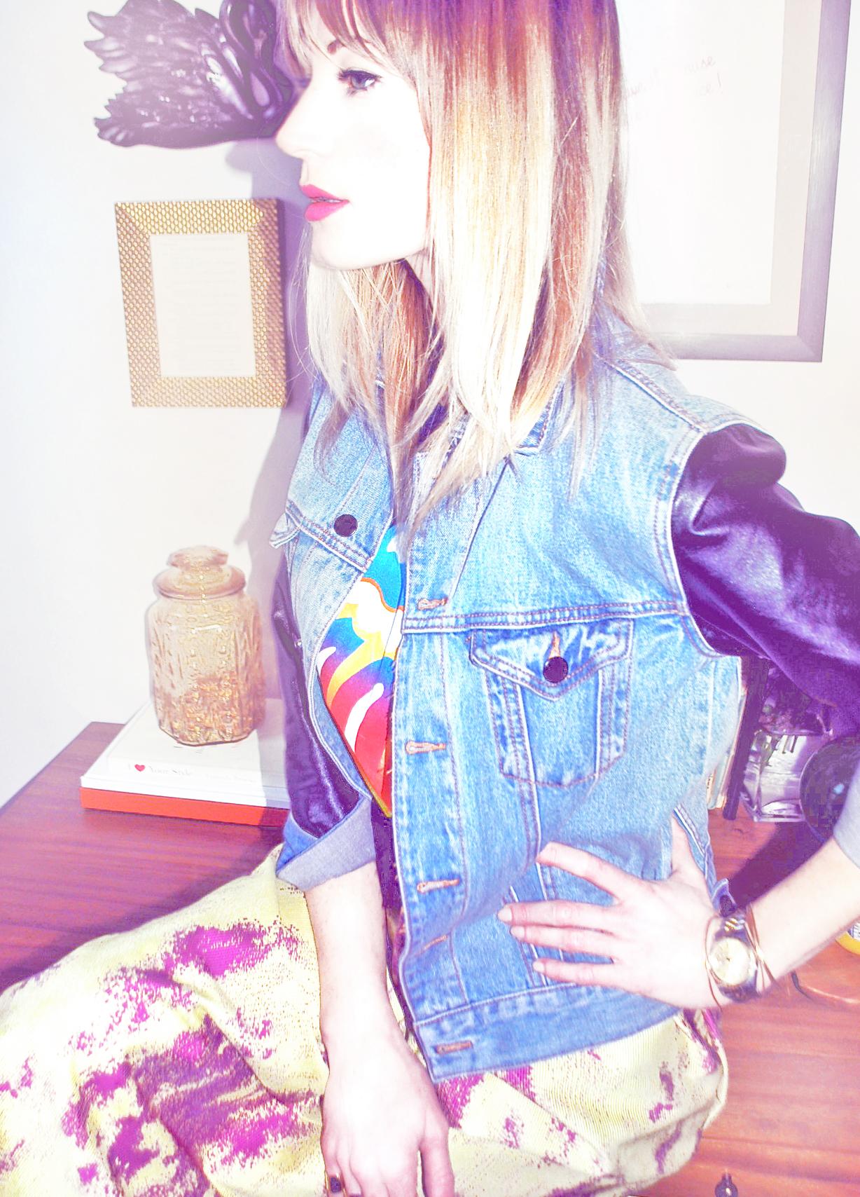 Jacket, Forever 21 ( similar here ); Tee, Vintage; Skirt, made by me; Shoes, Zara ( similar here ), Rings,  Maison Martin Margiela