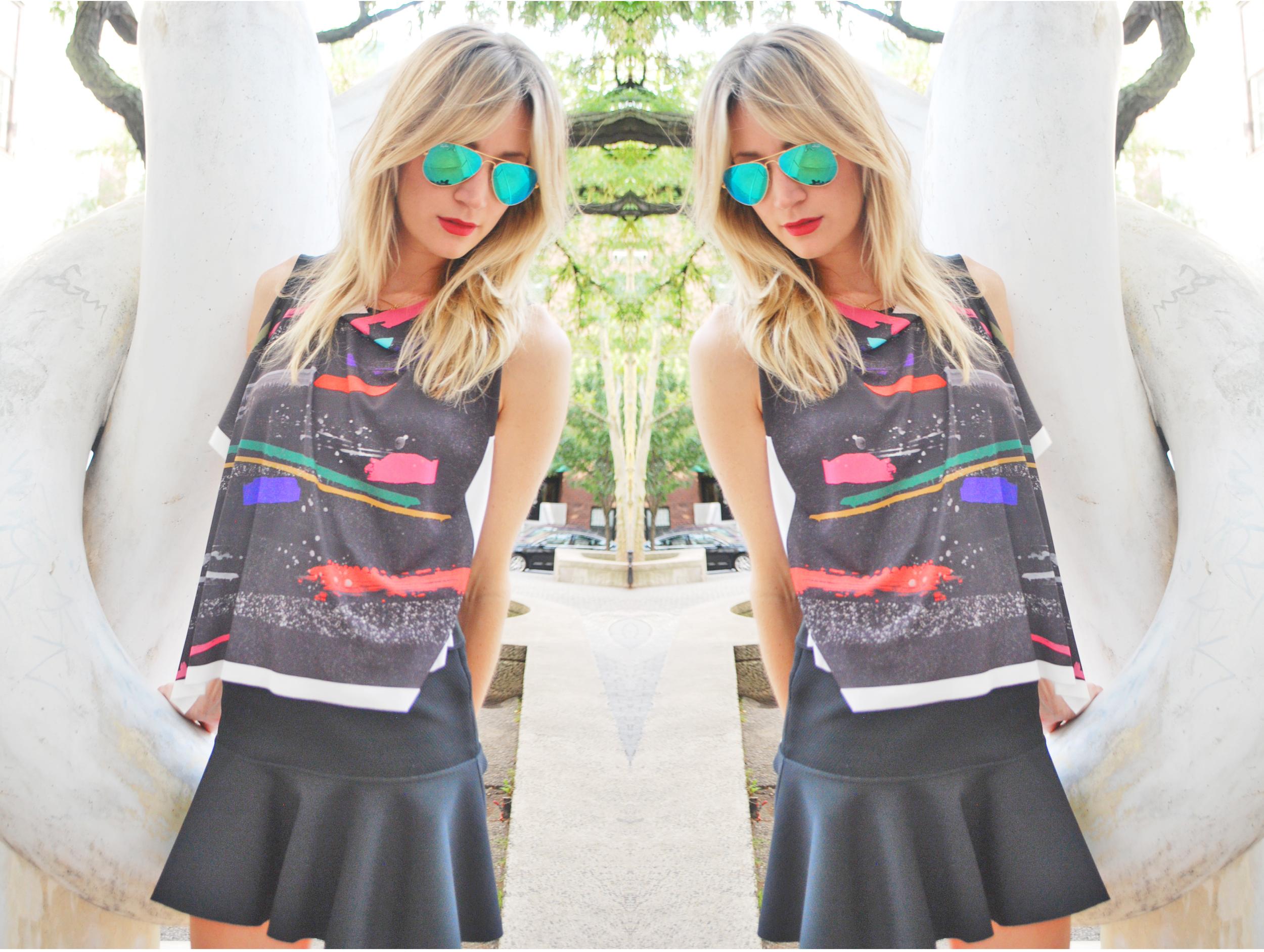 Top, Zara (sale); Skirt, H&M ( similar here ); Sandals, Zara (sale); Sunnies,  Ray-Ban ; Lipstick,  Mac
