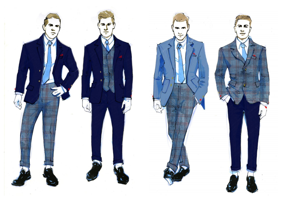 Concept sketches for Westfield Concierge team's mix-and-match suiting elements