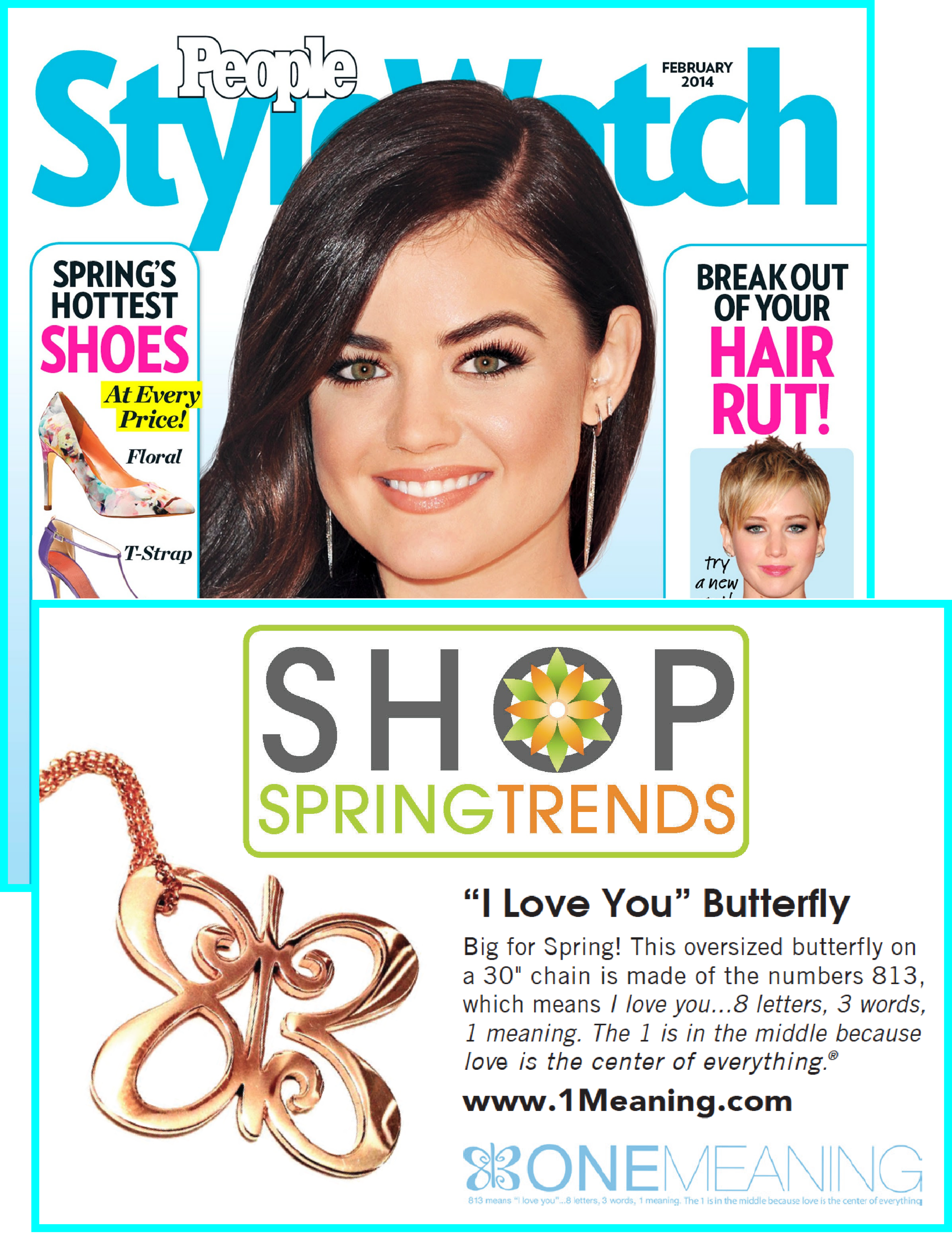 """Our Big Love Butterfly in People StyleWatch """"Sneak Preview for Spring"""" 2014"""