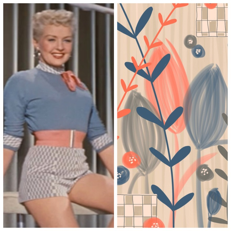 Inspiration: How to Marry a Millionaire. I loved the color palette of Betty Grable's outfit, the drape of the curtains behind her and the checked pattern of her shorts. Sketch created in Adobe Line. (Artwork by Jenean Morrison)
