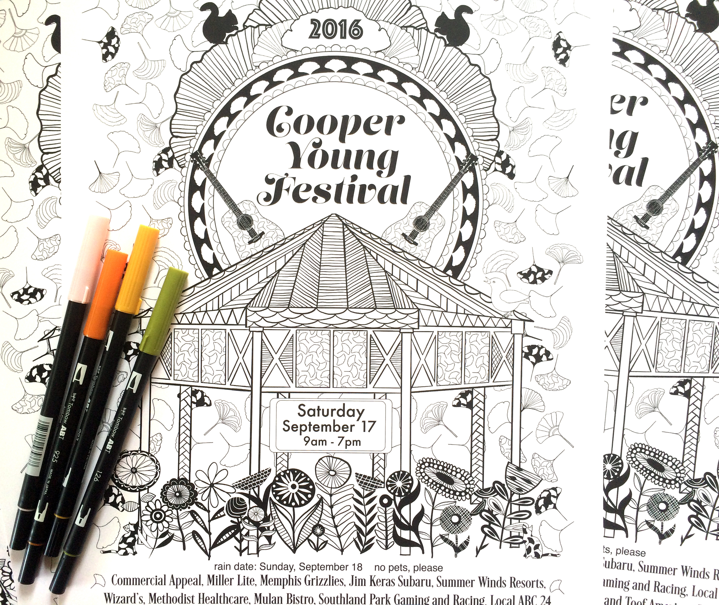 Cooper Young Festival Coloring Poster 2016 by Jenean Morrison