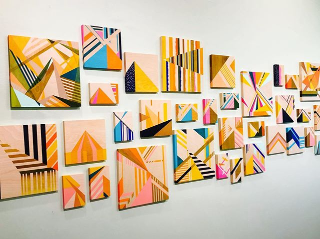 "We are in between guest-artist shows at the @cooperyounggallery so we've dedicated this wall to my ""Pyramid Scheme"" series of paintings. I love seeing them all together like this!"