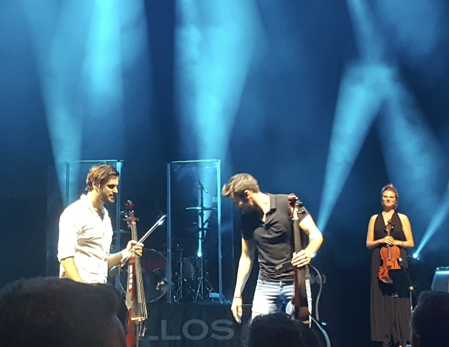 On stage with 2CELLOS after performing with them at the Wang Theater in Boston.