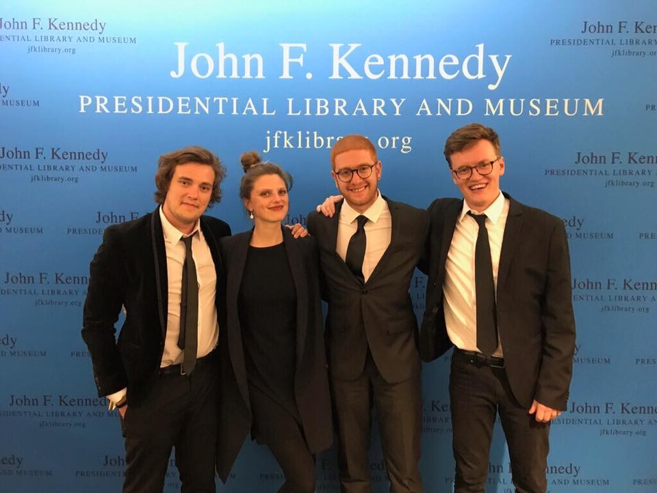 Josh, myself, Layth and Parker after performing for Barack Obama as he was awarded the Profile in Courage award at the JFK Library in Boston.