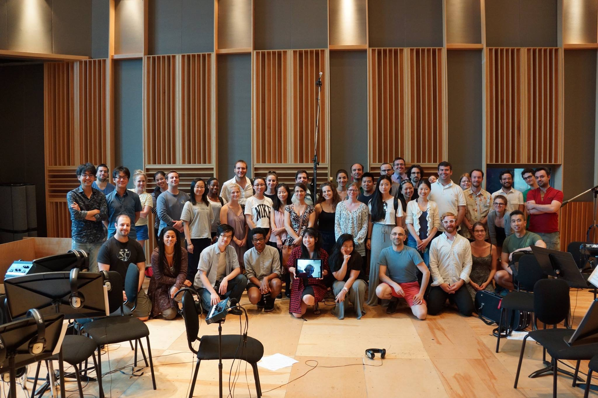 With the SoundRec orchestra after recording the soundtrack for Final Fantasy XV (WGBH Studios).