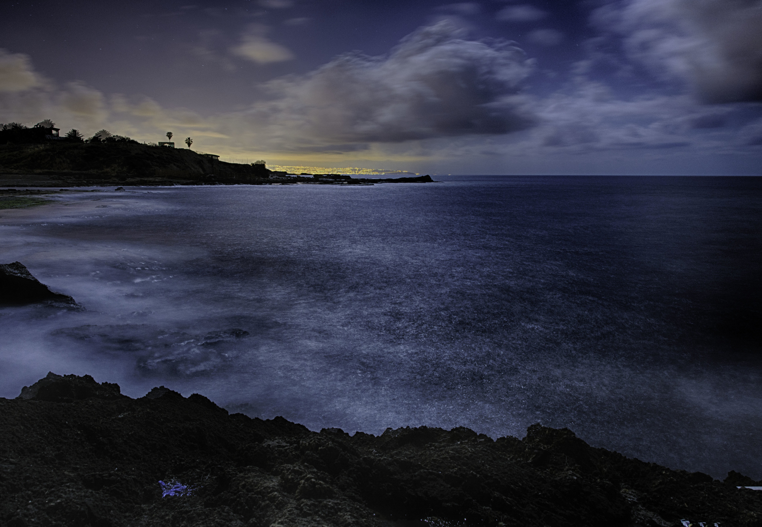 Nahariya Beach, night