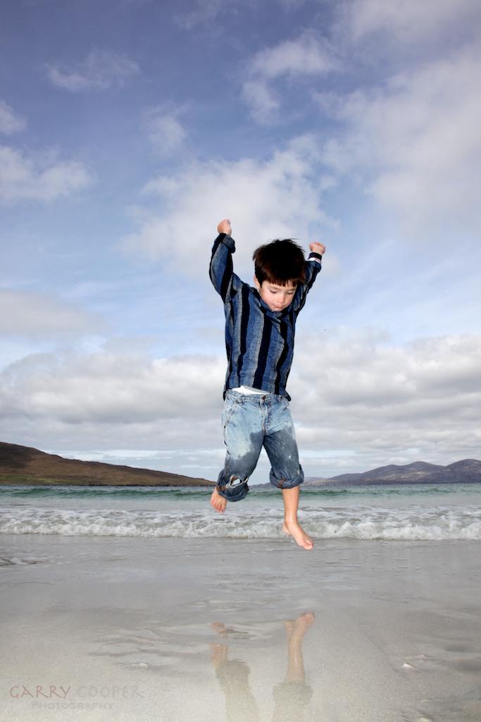 Hayden jumping, Luskentyre beach