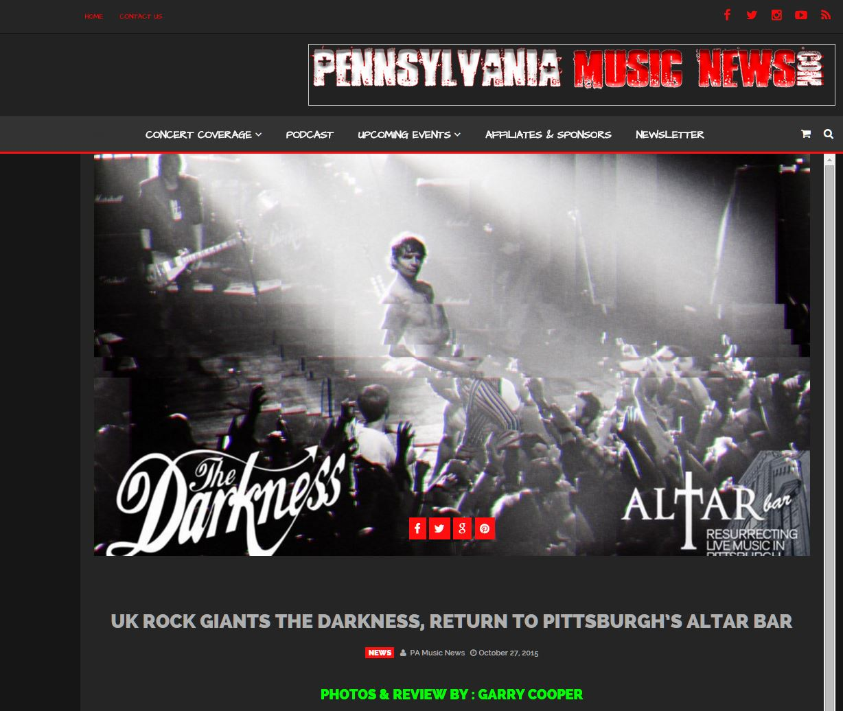 Concert review and photographs set 2 from The Darkness @ The Altar Bar  (Pennsylvania Music News)