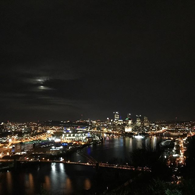 The Supermoon must have found its kryptonite tonight. #pittsburgh #supermoon