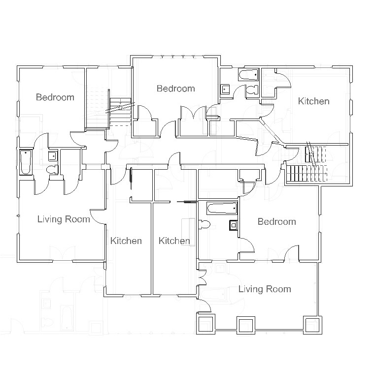 Apartment 4 lower right, Apartment 5 lower left, Apartment 6 upper right