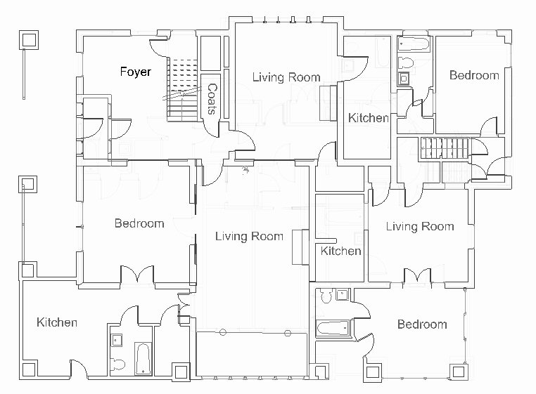 Apartment1 lowerleft, Apartment2upper right, Apartment3lower right