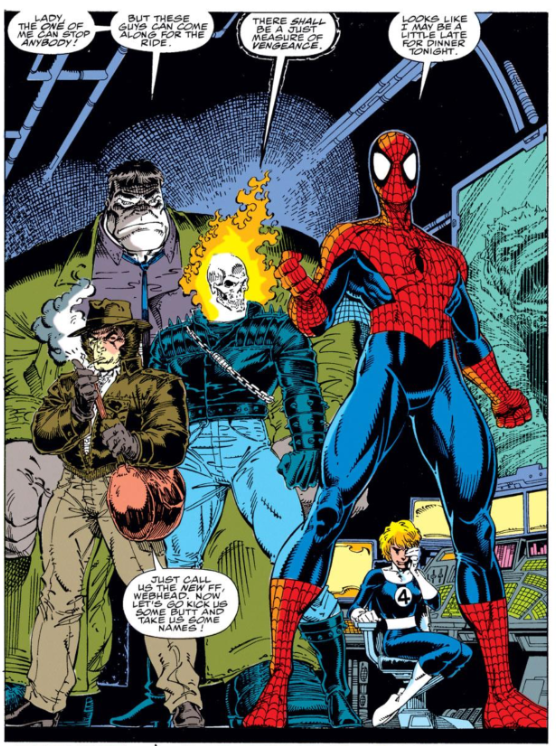 Spider-Man, Hulk, Ghost Rider, Wolverine
