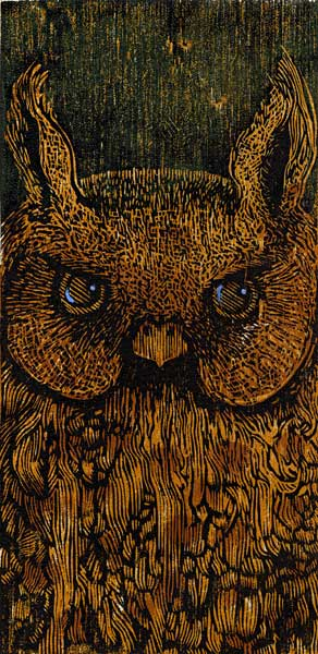 "Night Watch , 4"" x 8"" Woodcut Print on Okawara Paper"
