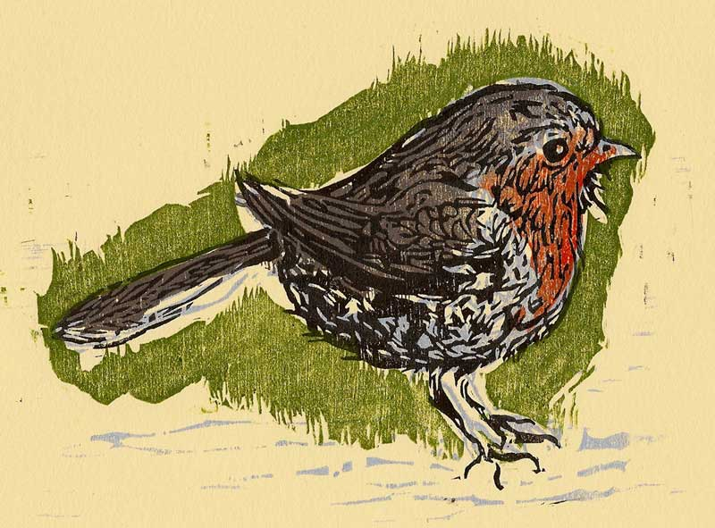 "European Robin, 7"" x 5"" Woodcut Print on BFK"