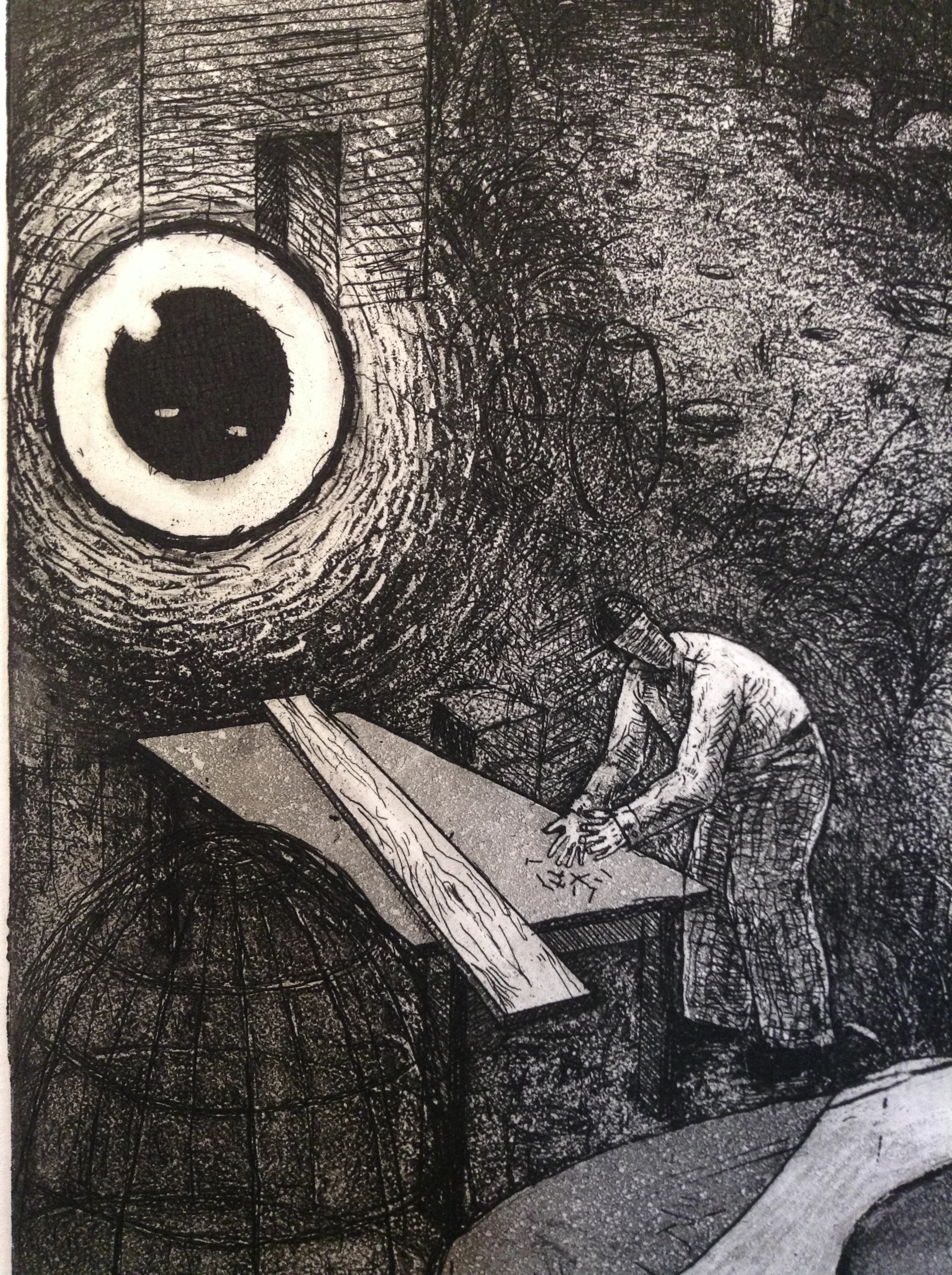 """Detail from """"Wolka"""" Aquatint Etching"""