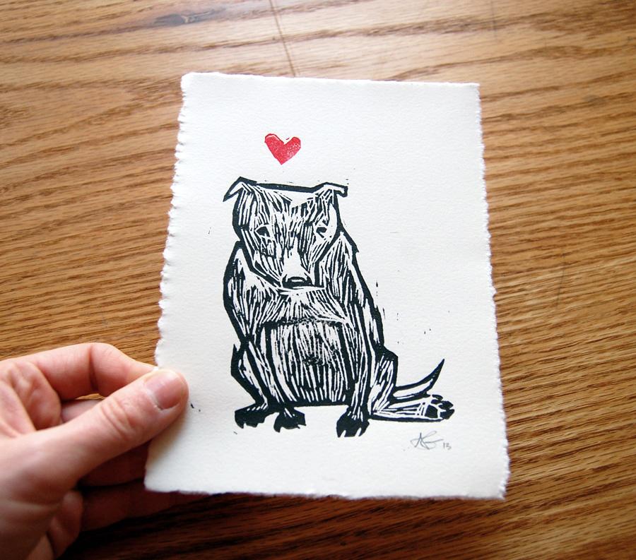 Pit Love (with detail)    Alyssa Grenning    Woodcut