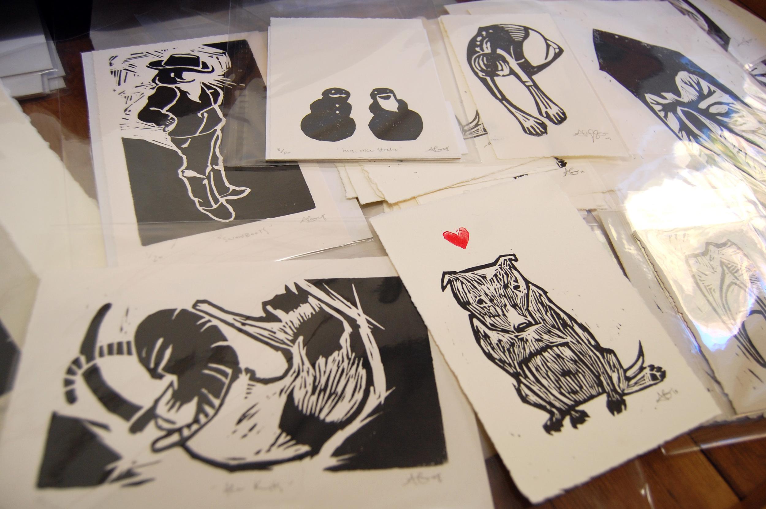 Drawer of Woodcut prints by  Alyssa Grenning