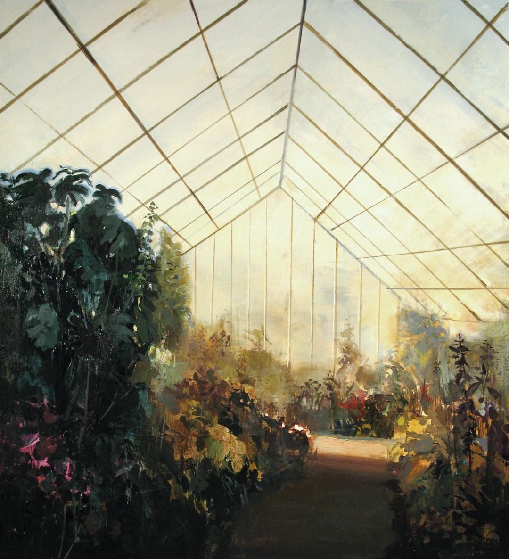 "Greenhouse Interior (study) Acrylic on Panel 10""x10"""