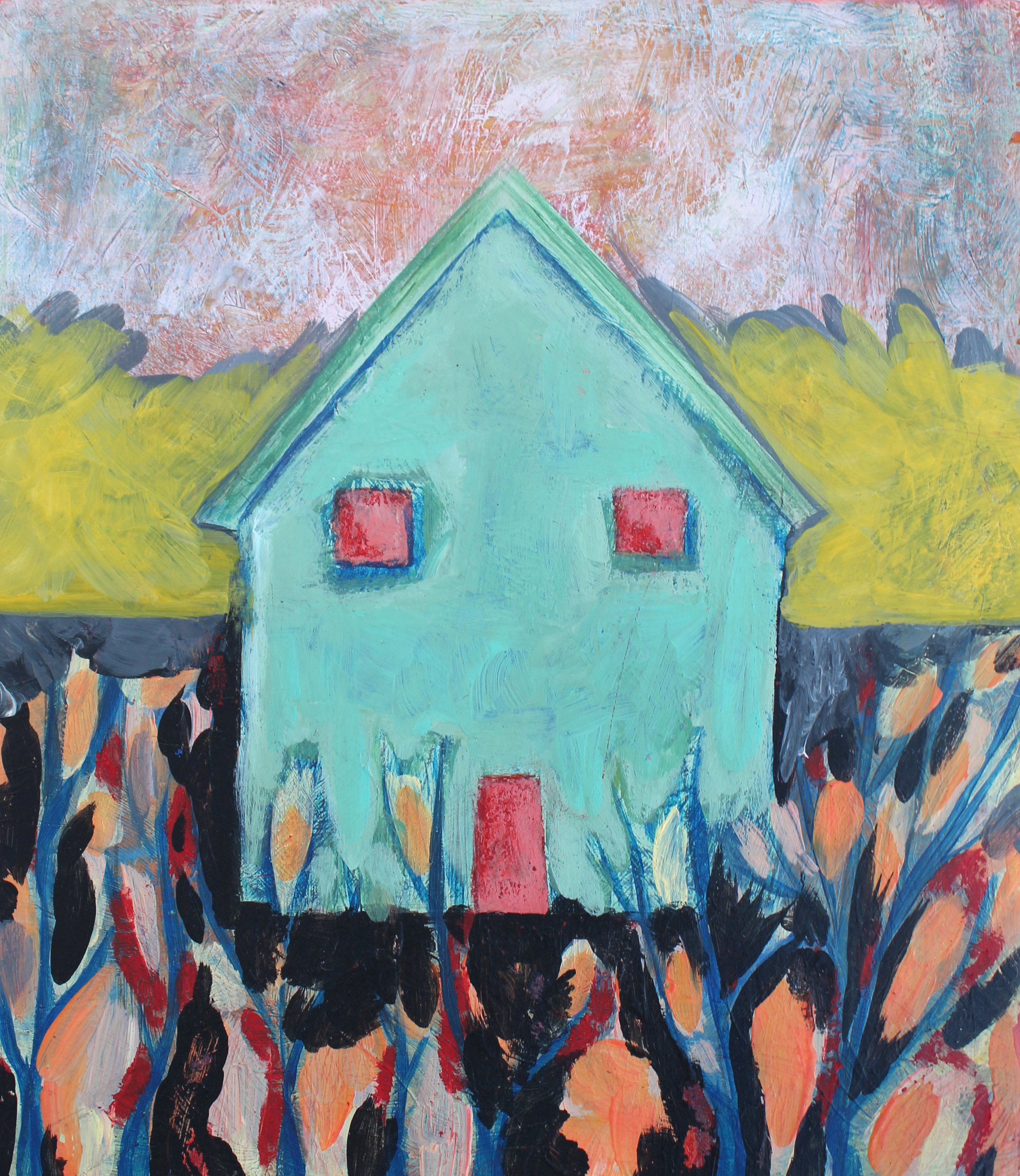 """Chases artist Tara Morin  Pebbles Scattered Beneath your Bedroom Window  Mixed-Media Illustration 6"""" x 7"""""""