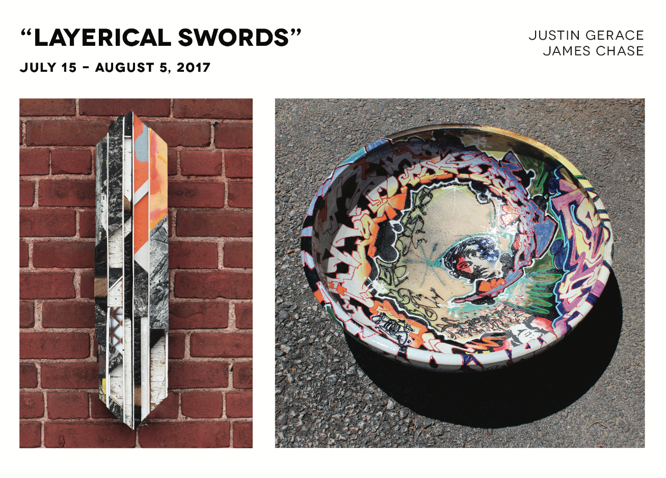 "IMAGE LEFT: James Chase  Chances  28x6.5x3.5"" RIGHT: Justin Gerace  The Son and Grizzly Gun Percent One  Stoneware Approx. 24.5""Dx7.375""H"