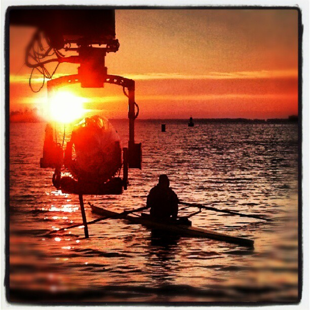 Filming at Dawn over the Severn
