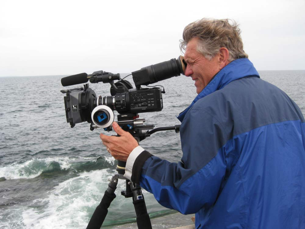 Filmmaker  Patrick Finnegan  ilming on the Maine coast