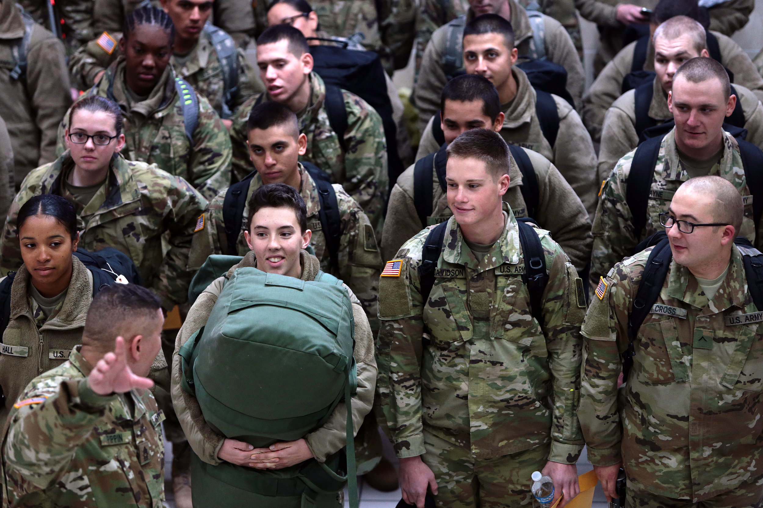 Soldiers from Fort Leonard Wood line up in Terminal 2 before going through security at Lambert–St. Louis International Airport on Wednesday, Dec. 21, 2016. Between 2,000 and 3,000 soldiers from Fort Leonard Wood are expected to pass through Lambert today as they make their way home for the holidays.