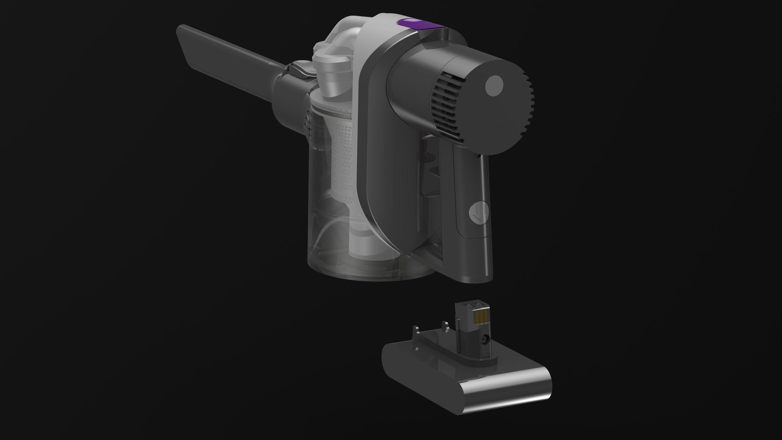 A 3D modelling and rendering exercise - the Dyson DC34 modelled and rendered in SolidWorks