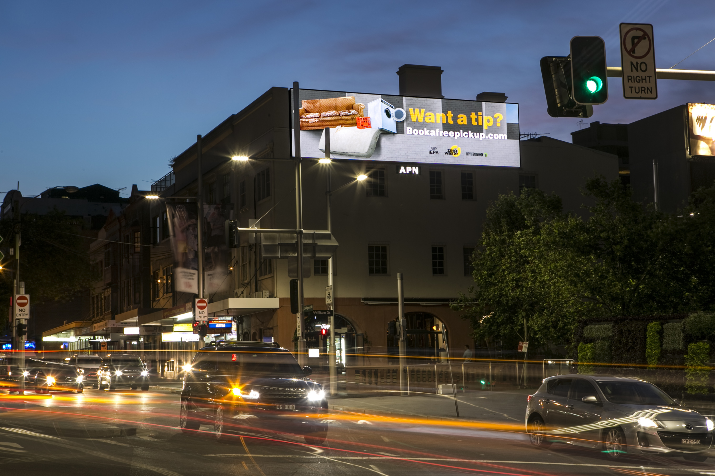 We designed this billboard to appear as if it was an extension of the building