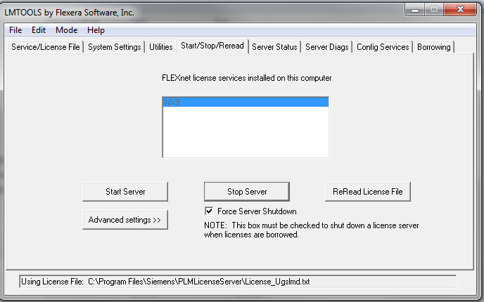 The dreaded LMTOOLS Siemens license server interface. What a pain.