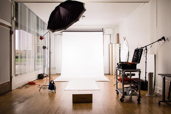 Studio setup for headshots on a white background :: Michael Gowin Photography, Lincoln, IL