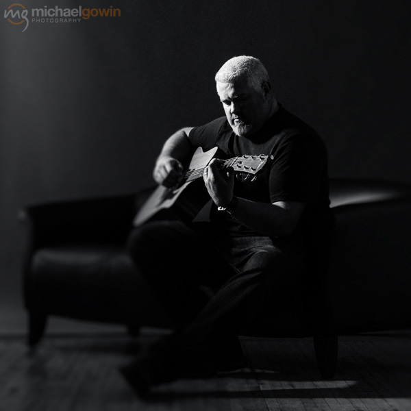 Rob Maupin, musician portrait with Taylor acoustic guitar :: Michael Gowin Photography, Lincoln, IL
