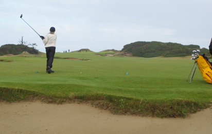 View from the back of the Royal Blue Tees on hole #5, Pacific Dunes, Bandon, USA.  Photo: Arthur Little