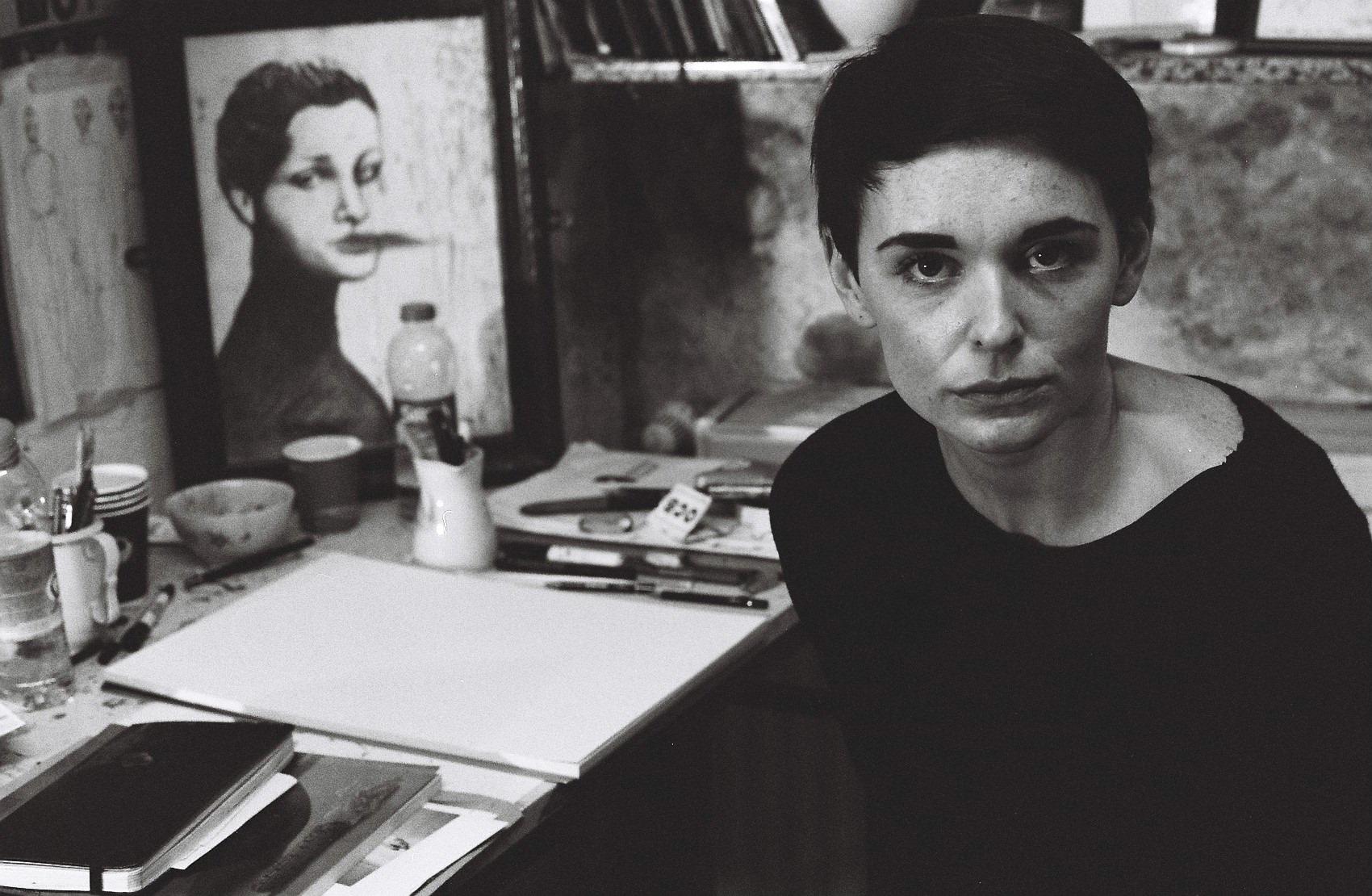 A photo of me in my old studio underground on Luebbenerstrasse in Kreuzberg 2010. Take by Eli Cornejo.