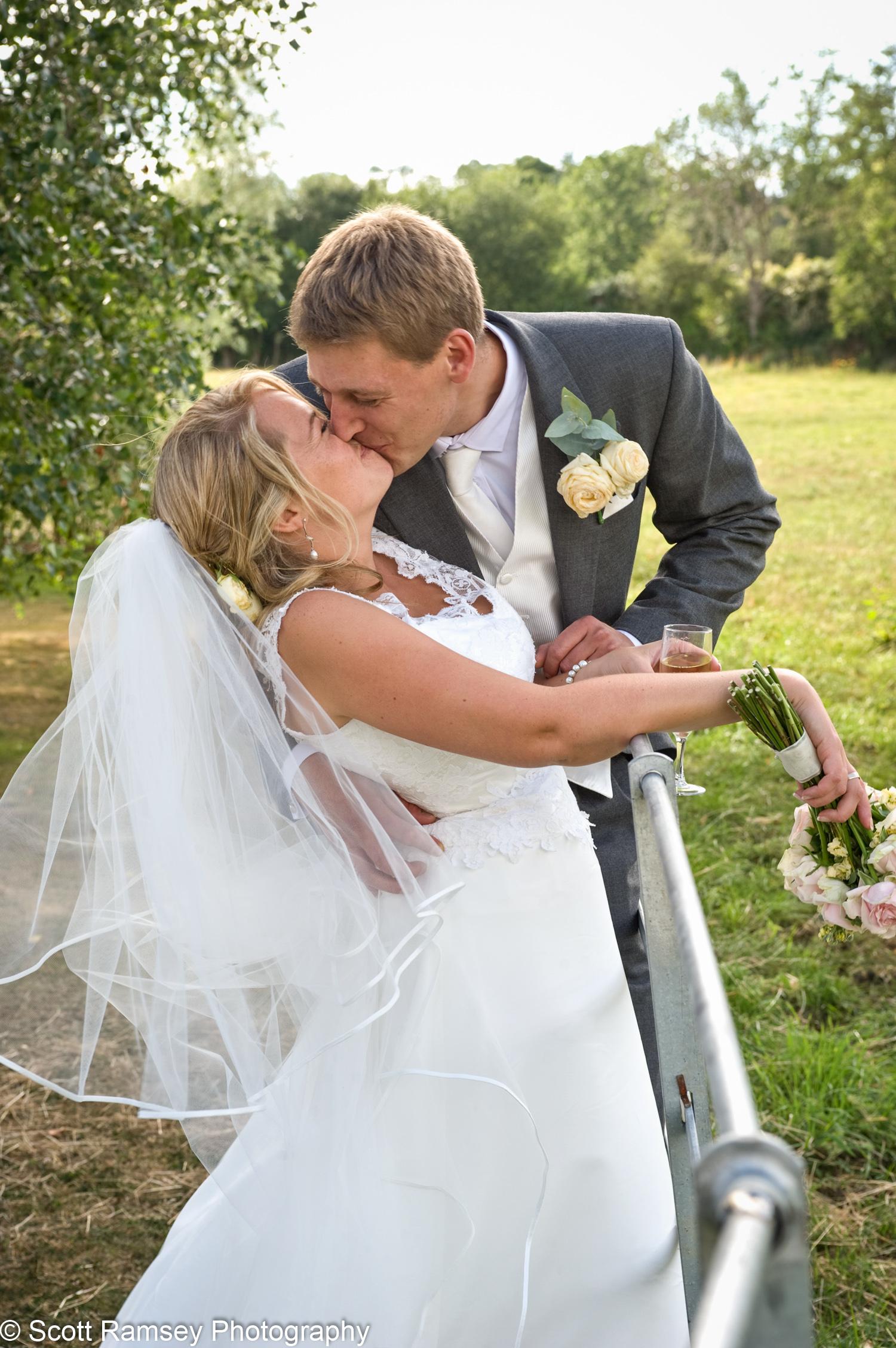 Gate Street Barn Bride And Groom Kiss
