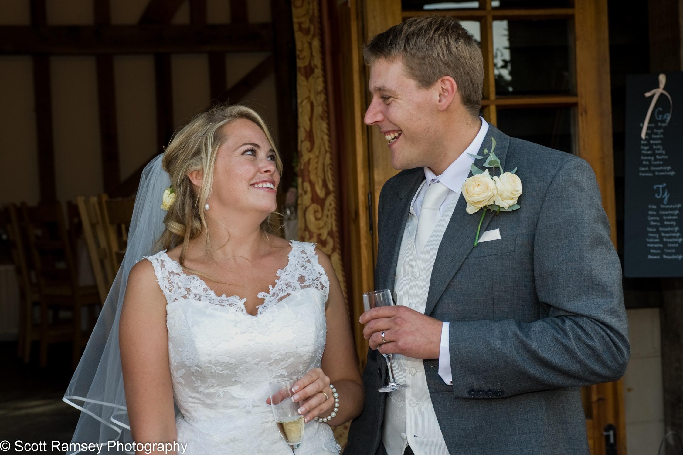 Bride And Groom Laughing Gate Street Barn