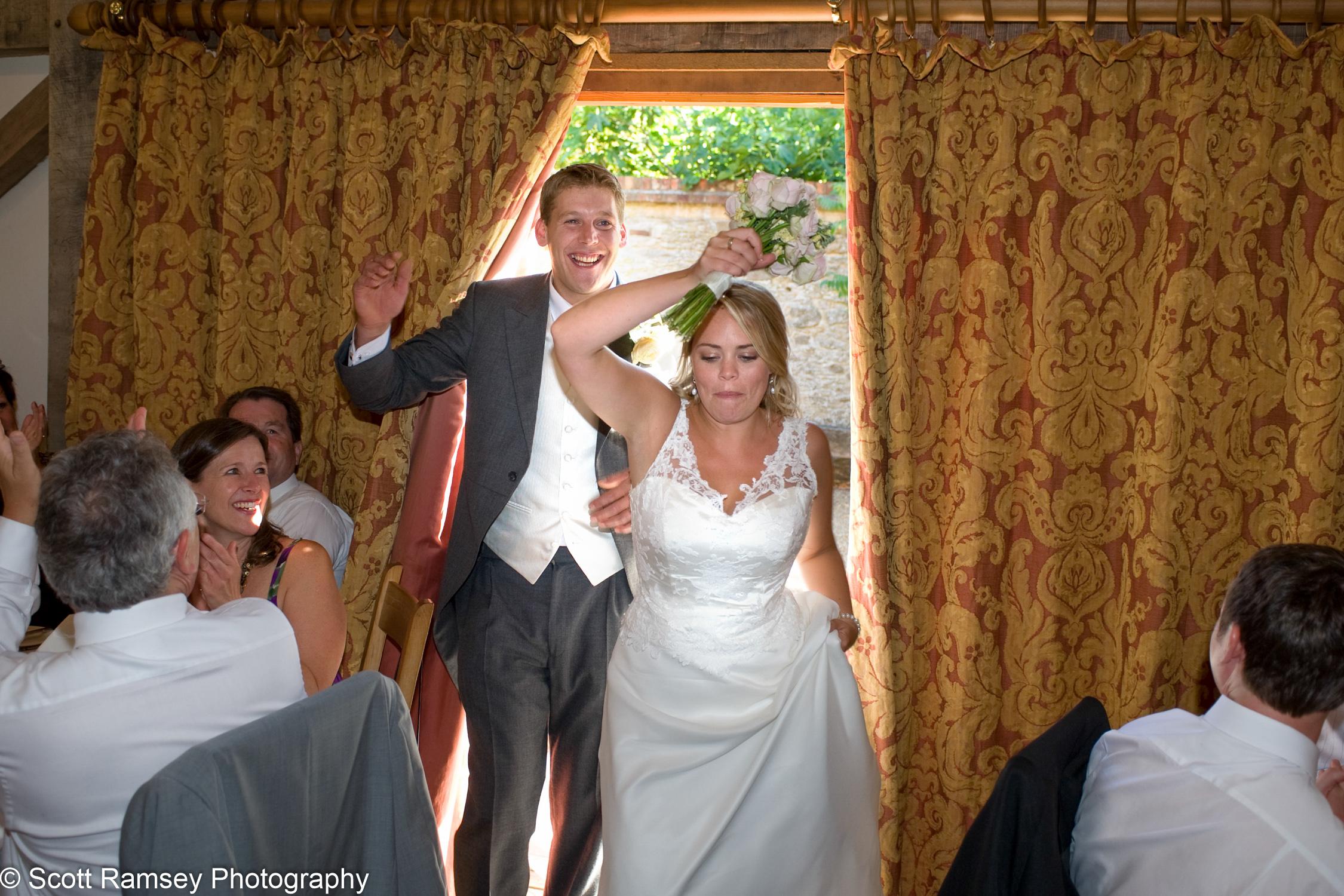 Bride And Groom Arrive Gate Street Barn Wedding