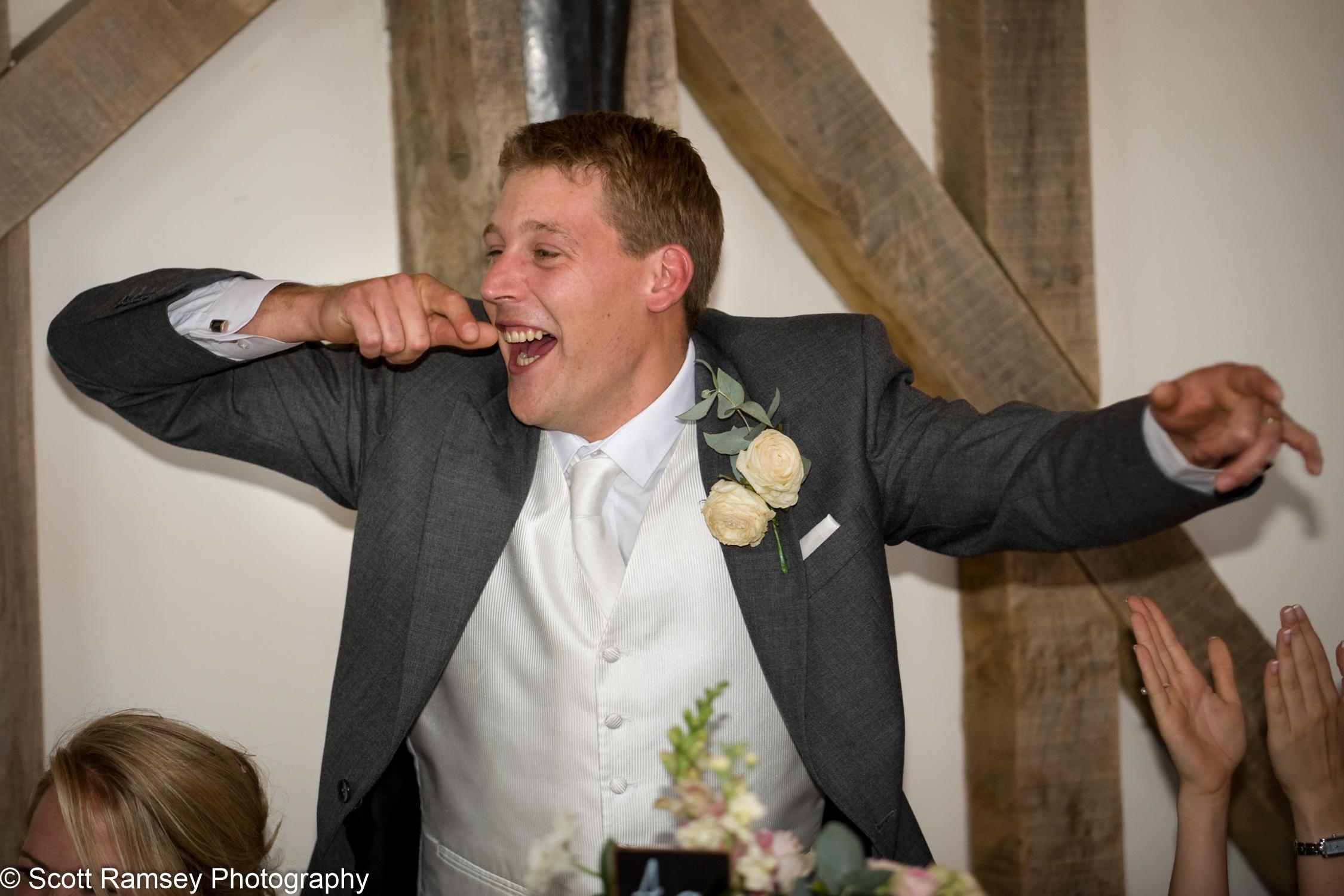 Celebrating Groom Wedding Gate Street Barn